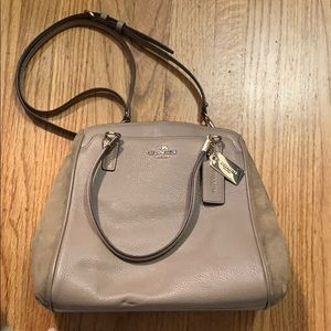 Tan leather and suede Coach purse